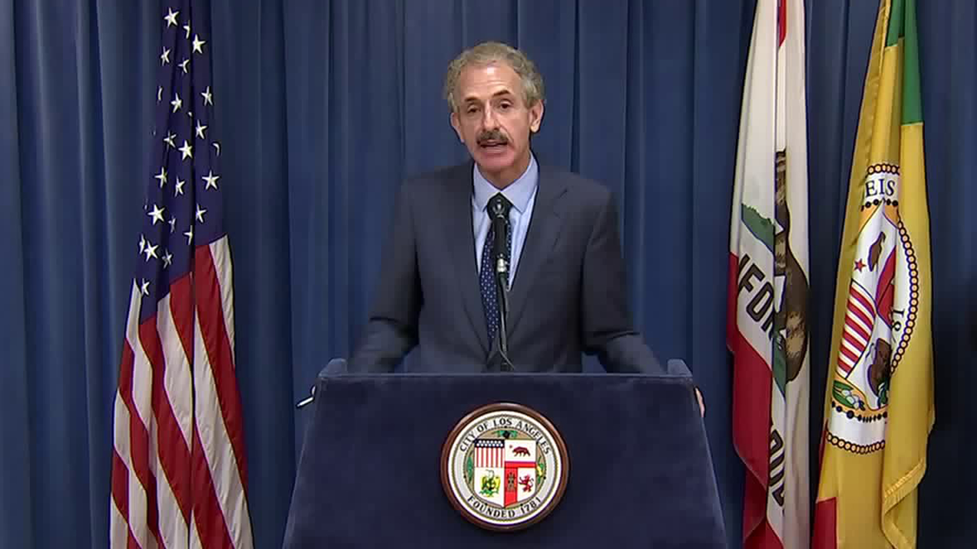 Los Angeles City Attorney Mike Feuer gives a coronavirus briefing on May 15, 2020.