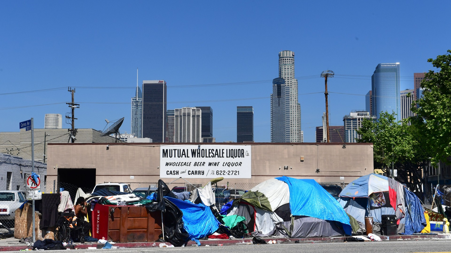 Tents housing the homeless line a street in downtown Los Angeles, California on April 22, 2020, amid the novel coronavirus pandemic. (Frederic J. BROWN/AFP/Getty Images)