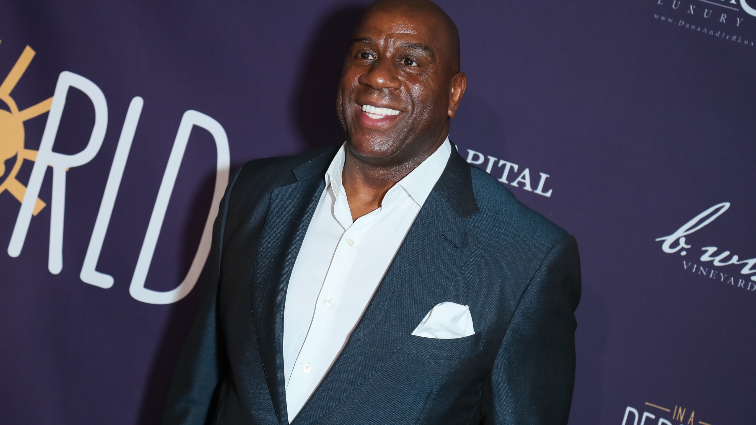 Earvin Magic Johnson arrives at The Jeremy Hotel in West Hollywood for an event on March 3, 2019. (Leon Bennett/Getty Images)