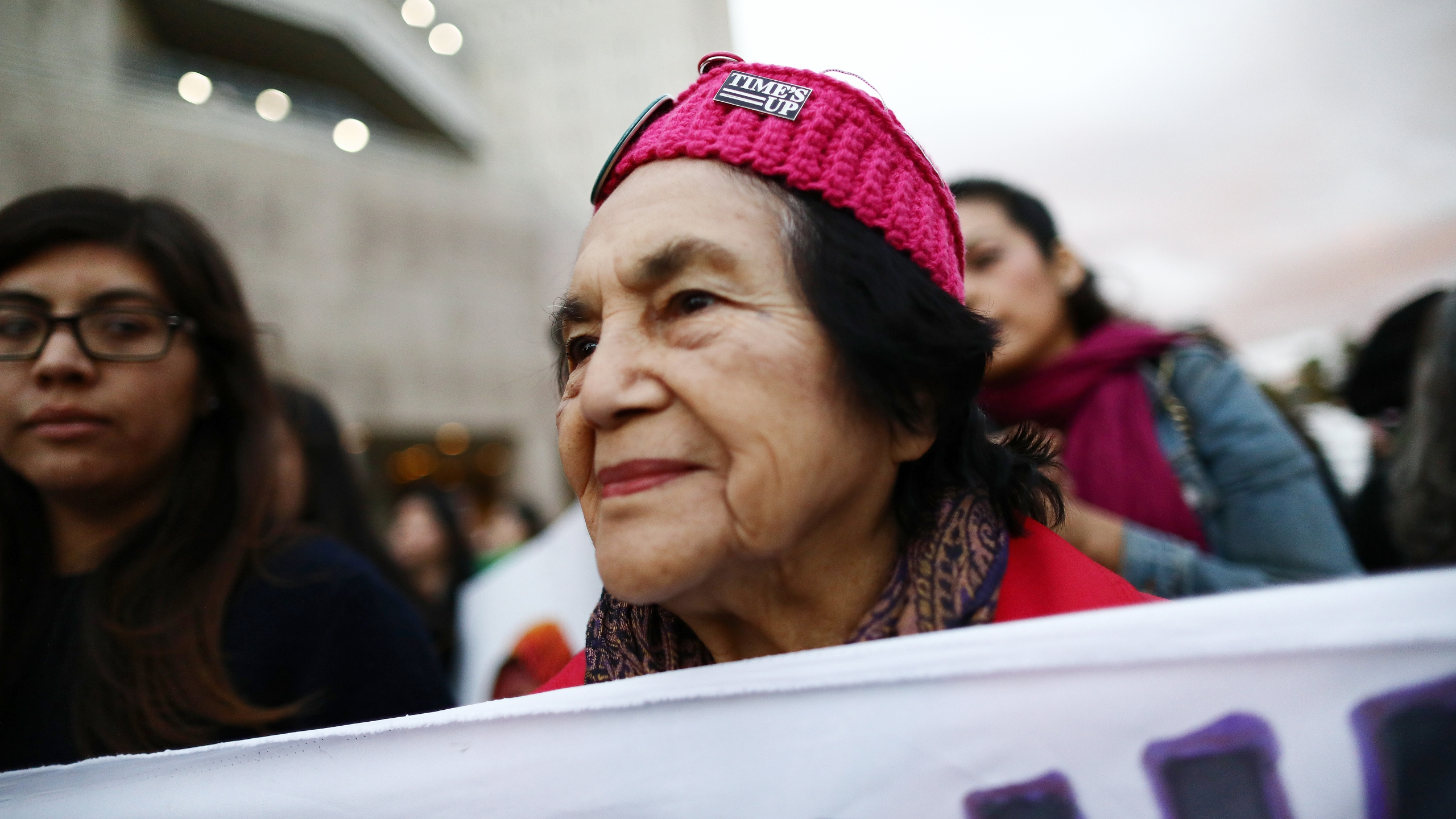 Civil rights activist Dolores Huerta, 88, marches during an International Women's Strike rally on March 8, 2019. in Los Angeles. (Mario Tama/Getty Images)