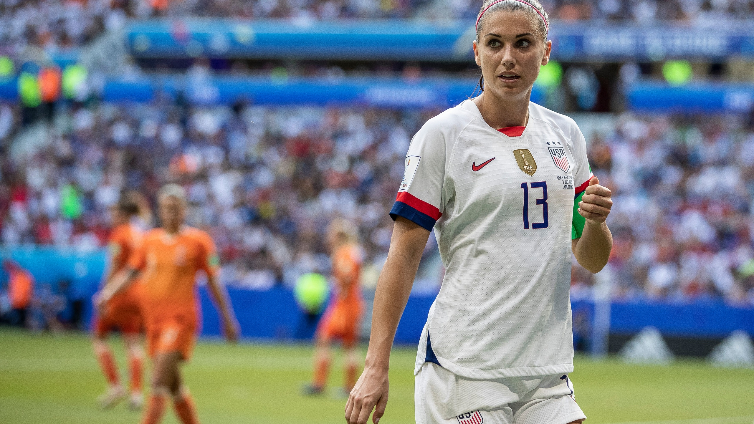 Alex Morgan looks on during the 2019 FIFA Women's World Cup France Final match between the U.S. and the Netherlands on July 07, 2019, in Lyon, France. (Maja Hitij/Getty Images)