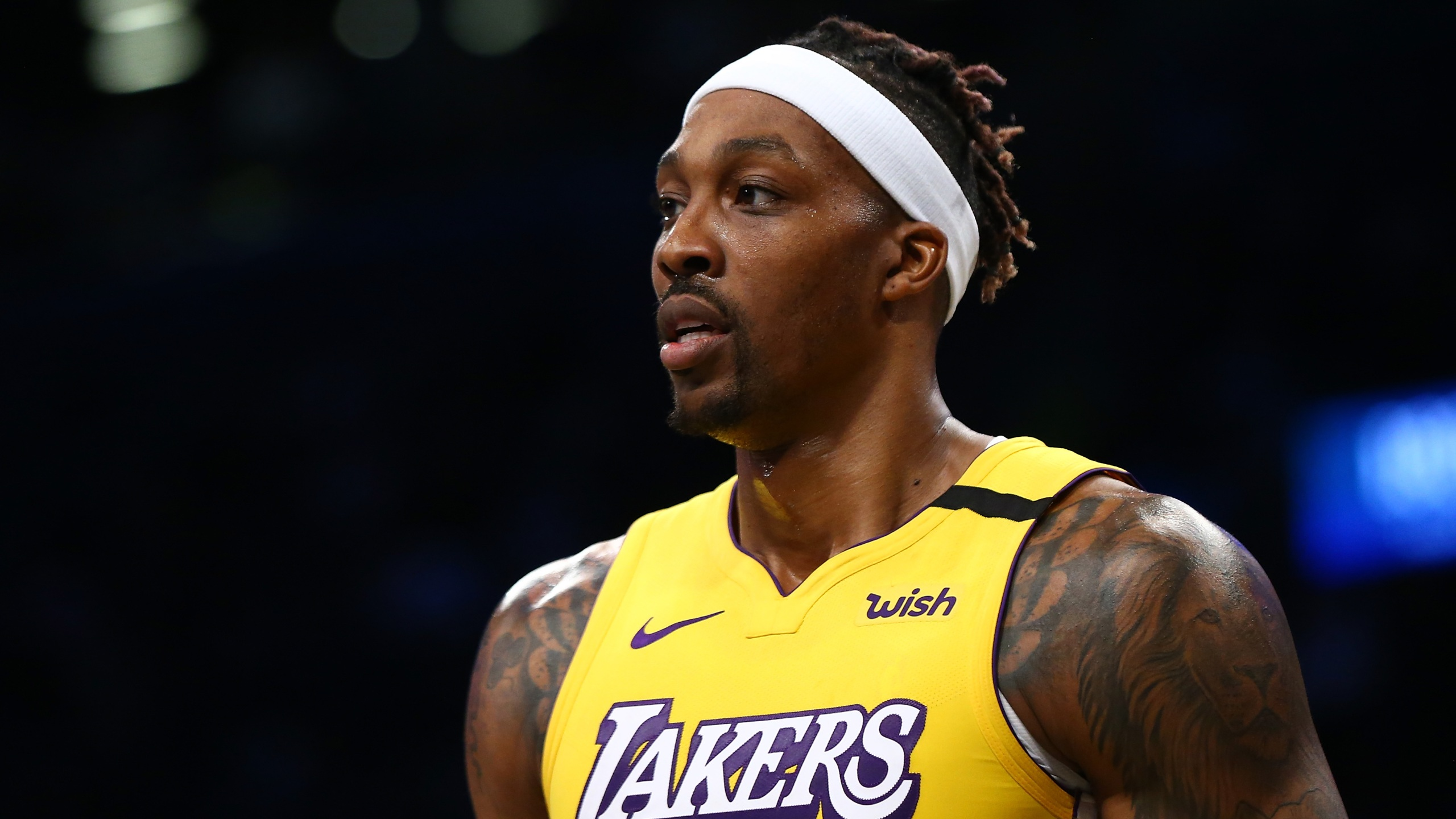 Dwight Howard of the Los Angeles Lakers is seen at Barclays Center on Jan. 23, 2020 in New York City. (Mike Stobe/Getty Images)
