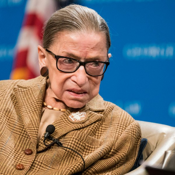 U.S. Supreme Court Justice Ruth Bader Ginsburg participates in a discussion at the Georgetown University Law Center on Feb. 10, 2020. (Sarah Silbiger/Getty Images)