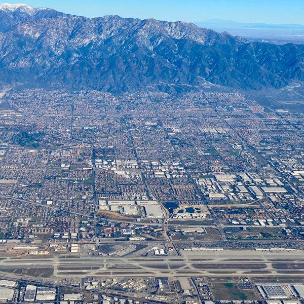 Aerial view of Ontario International Airport (ONT), San Bernardino County, situated 38 miles East of Los Angeles California, pictured on February 6, 2020. (DANIEL SLIM/AFP via Getty Images)