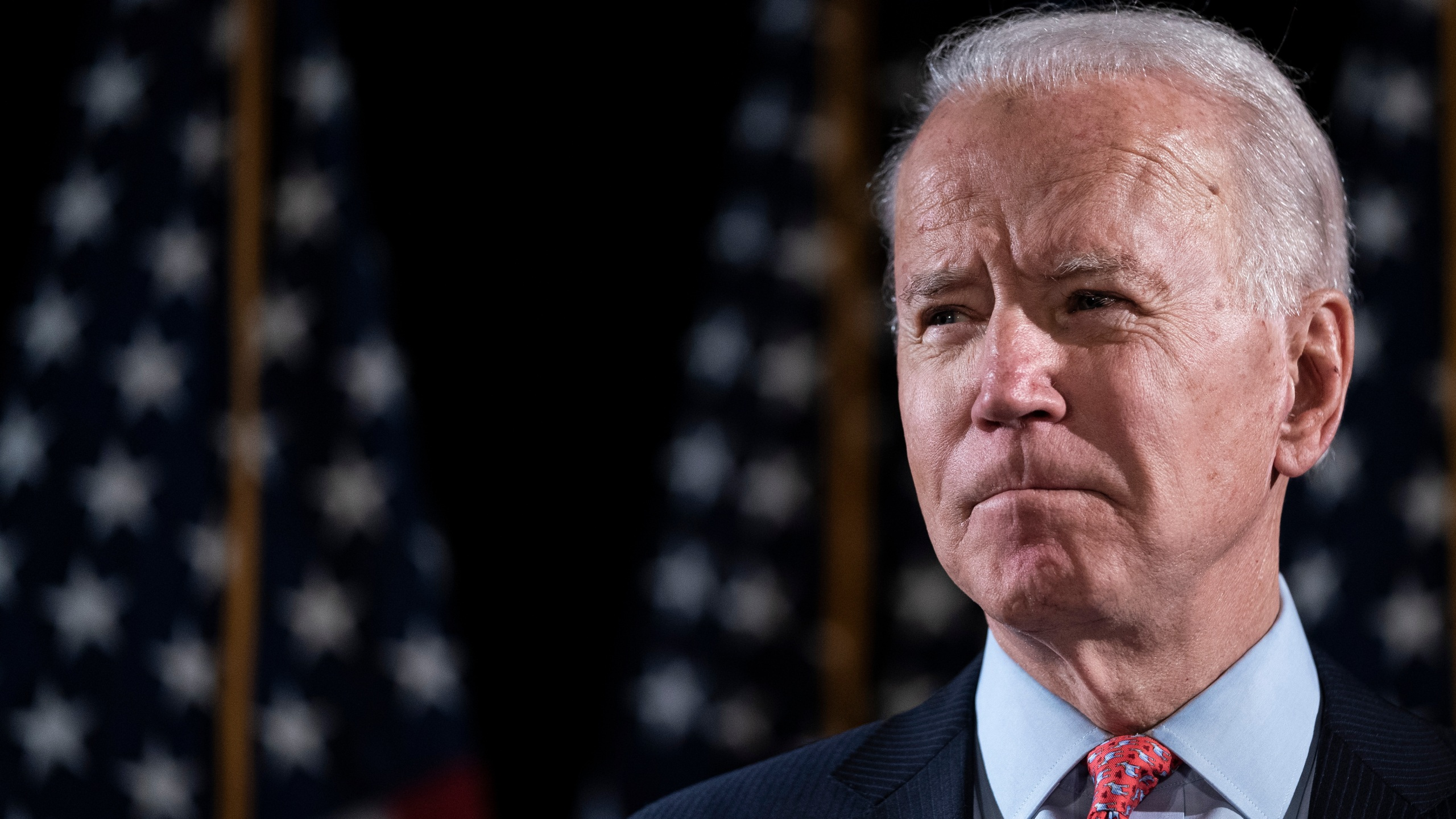 Democratic presidential candidate former Vice President Joe Biden delivers remarks about the coronavirus outbreak, at the Hotel Du Pont March 12, 2020, in Wilmington, Delaware. (Drew Angerer/Getty Images)