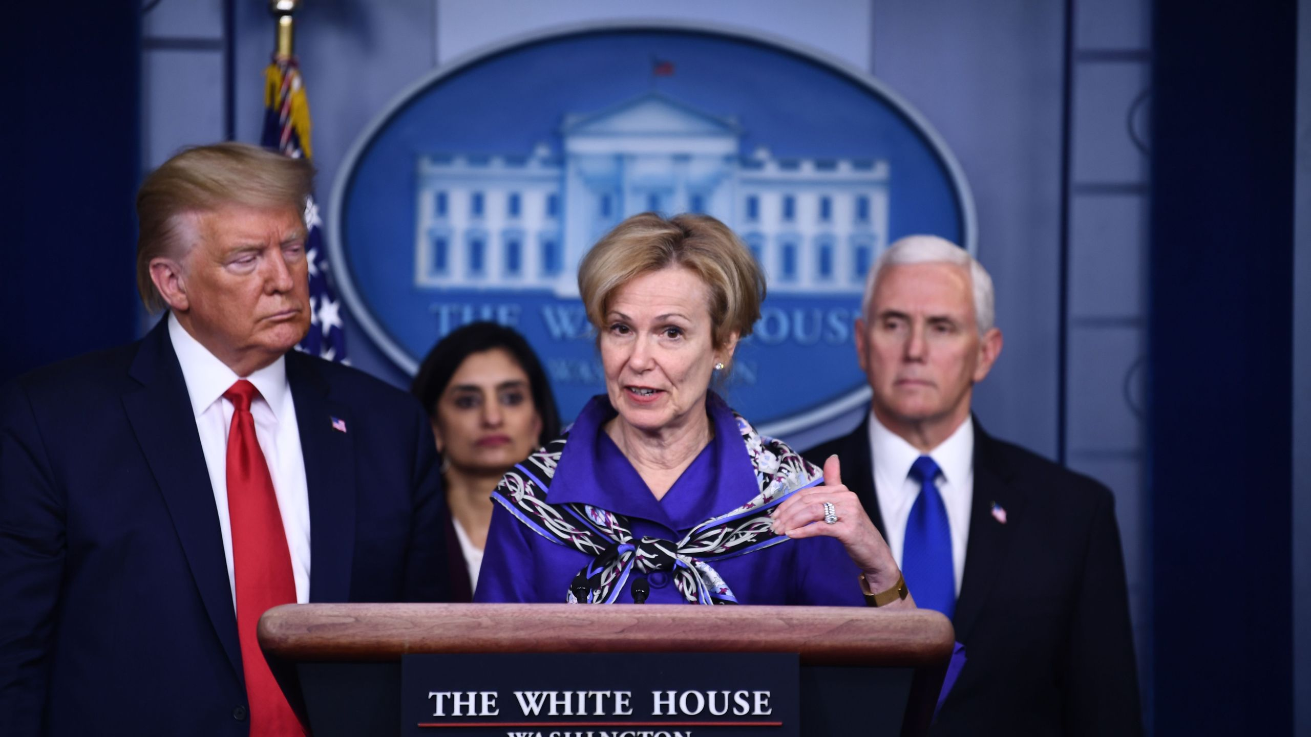 White House Coronavirus Task Force Coordinator, Dr. Deborah Birx, answers a question during the daily briefing on the novel coronavirus, COVID-19, at the White House on March 18, 2020, in Washington, DC. (Brendan Smialowski / AFP) (Photo by BRENDA