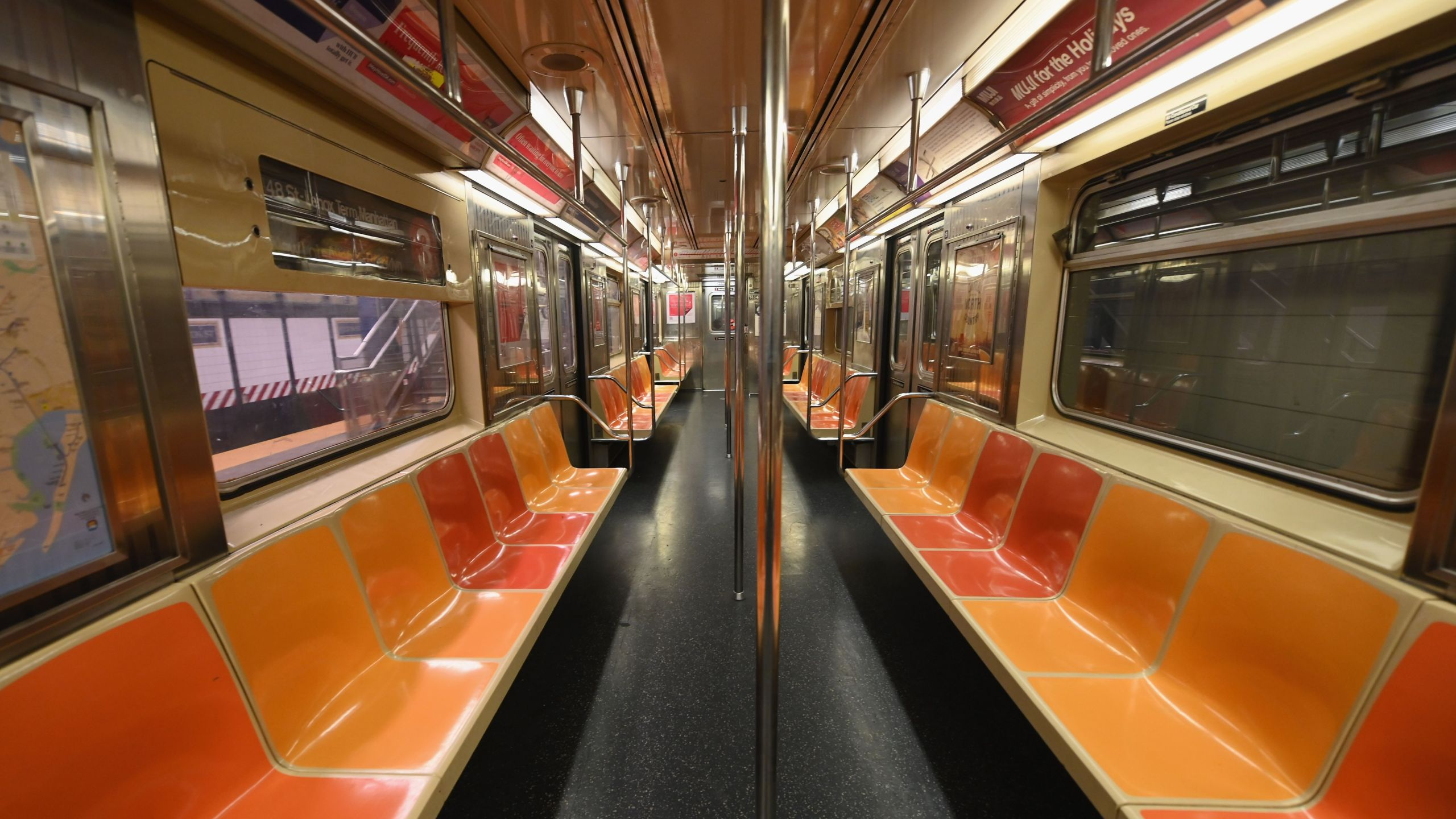 An empty New York Subway car is seen on March 23, 2020 in New York City. (ANGELA WEISS/AFP via Getty Images)