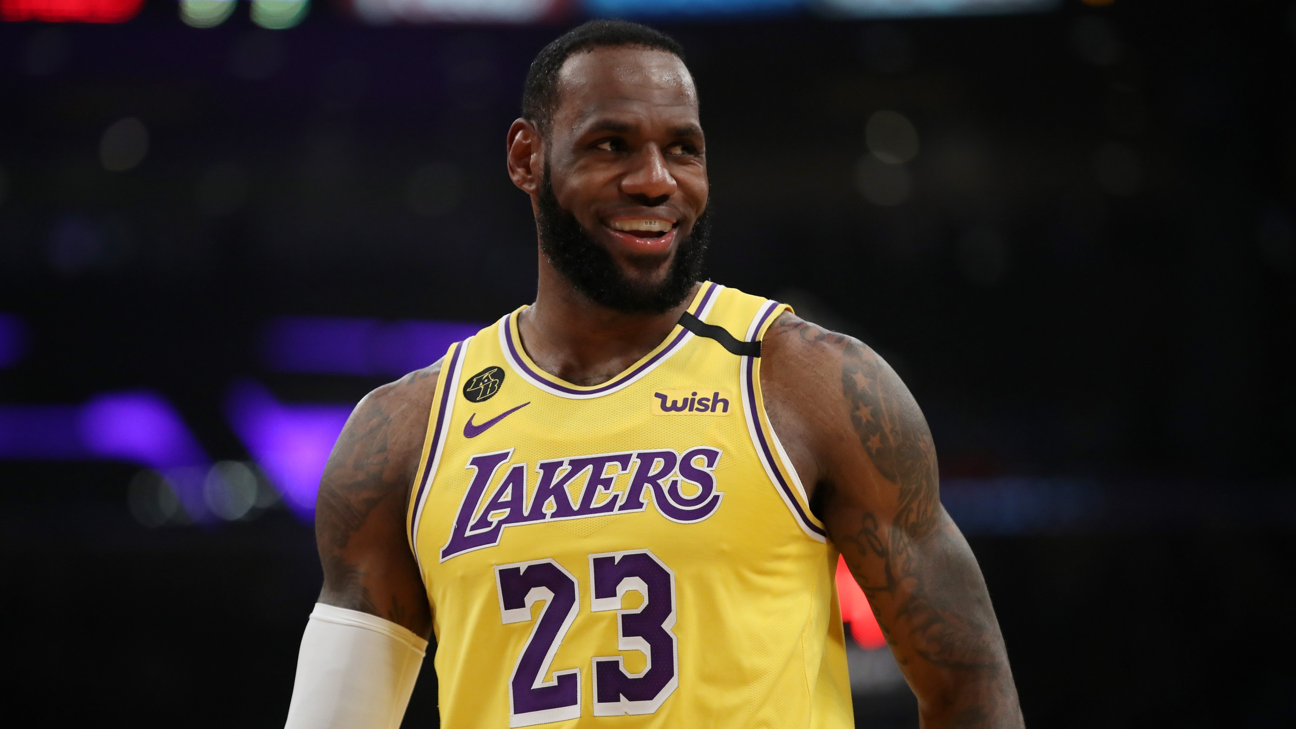 LeBron James of the Los Angeles Lakers stands on the court in a game against the Philadelphia 76ers during the first half at Staples Center on March 3, 2020, in Los Angeles. (Katelyn Mulcahy/Getty Images)