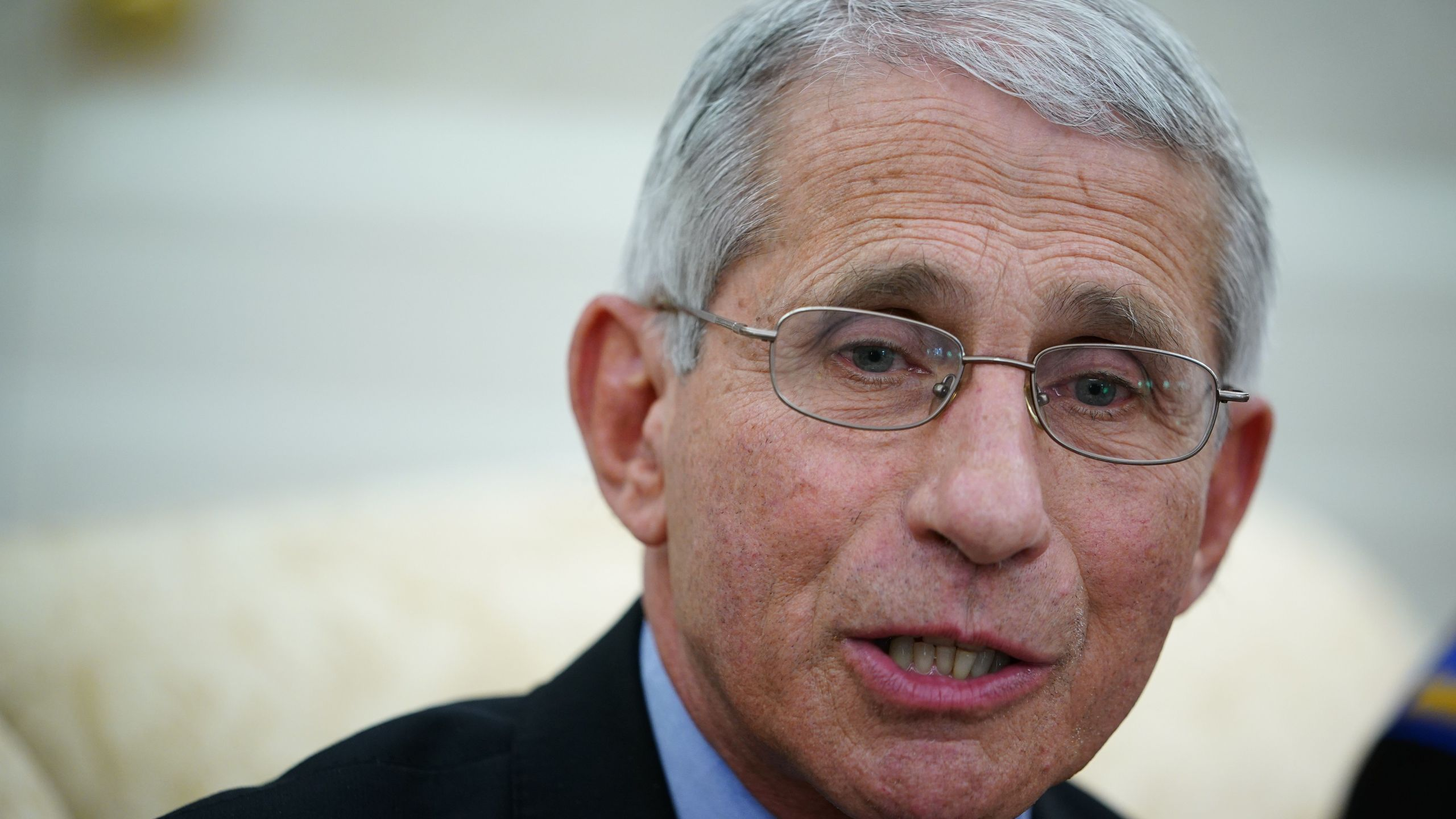 Dr. Anthony Fauci , director of the National Institute of Allergy and Infectious Diseases speaks during a meeting with US President Donald Trump and Louisiana Governor John Bel Edwards D-LA in the Oval Office of the White House in Washington, DC on April 29, 2020. (MANDEL NGAN/AFP via Getty Images)