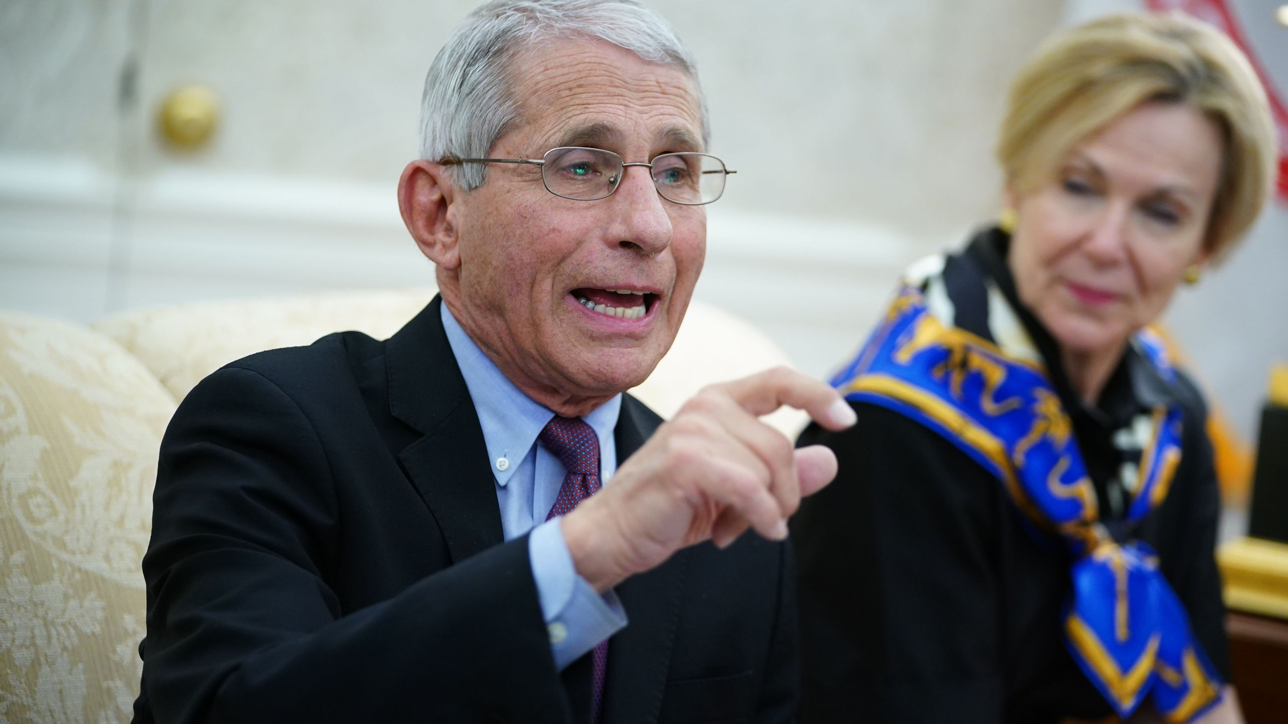 Dr. Anthony Fauci, director of the National Institute of Allergy and Infectious Diseases, speaks next to response coordinator for the White House Coronavirus Task Force, Deborah Birx, during a meeting with U.S. President Donald Trump and Louisiana Gov/ John Bel Edwards, D-LA, in the Oval Office of the White House in Washington, D.C. on April 29, 2020. (MANDEL NGAN/AFP via Getty Images)