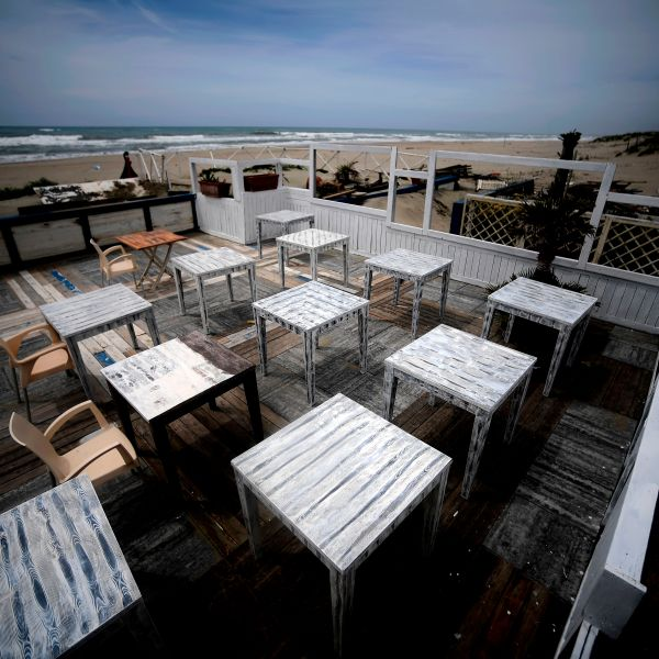 A view of an empty summer resort facility at Ostia beach in the outskirts of Rome on May 1, 2020, during the country's lockdown aimed at curbing the spread of the COVID-19 infection, caused by the novel coronavirus.(FILIPPO MONTEFORTE/AFP via Getty Images)