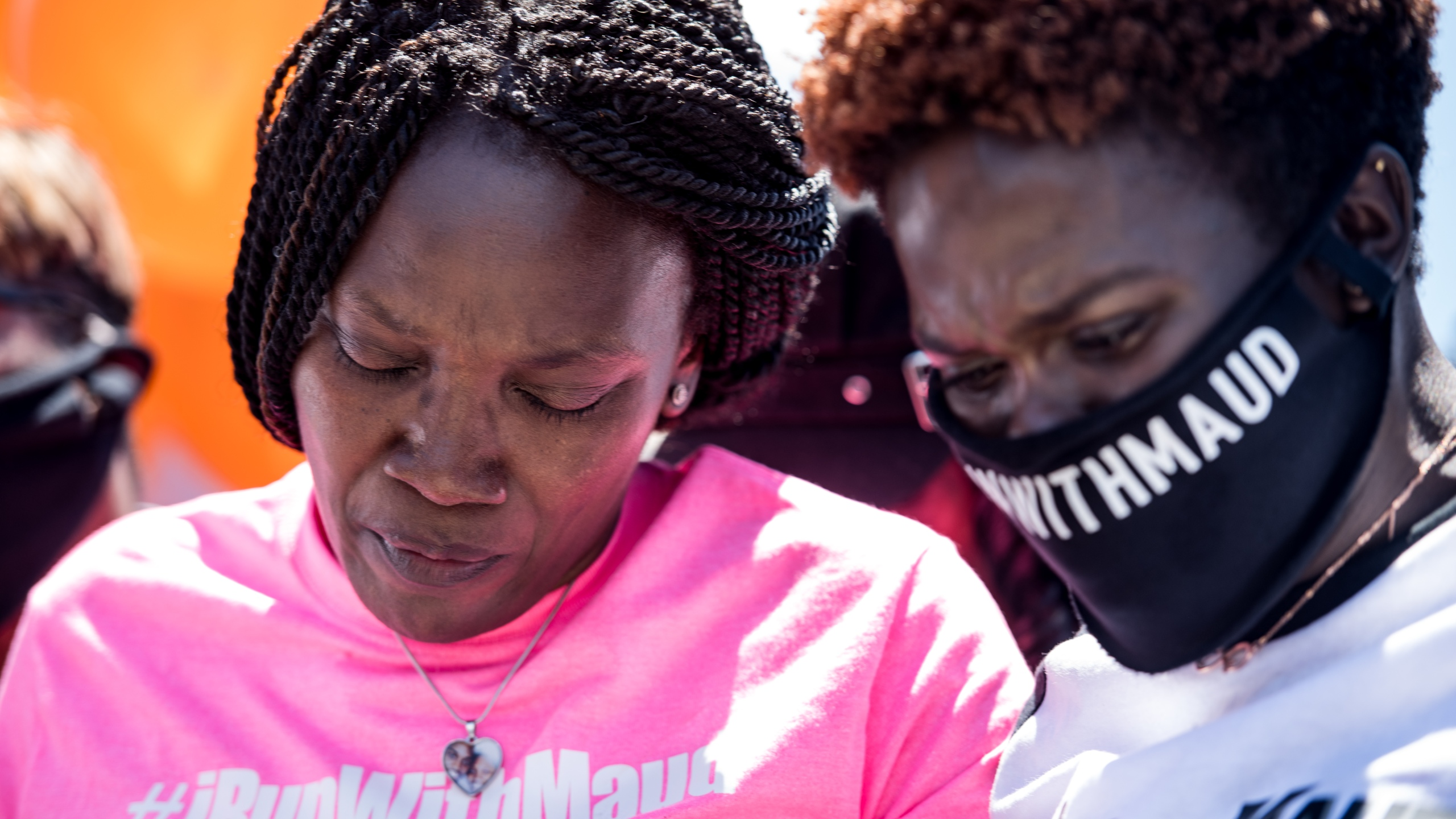 Jasmine Arbery, sister of Ahmaud Arbery, and Wanda Cooper-Jones, Ahmaud's mother, are seen at a gathering to honor Ahmaud at Sidney Lanier Park on May 9, 2020, in Brunswick, Georgia. (Sean Rayford/Getty Images)