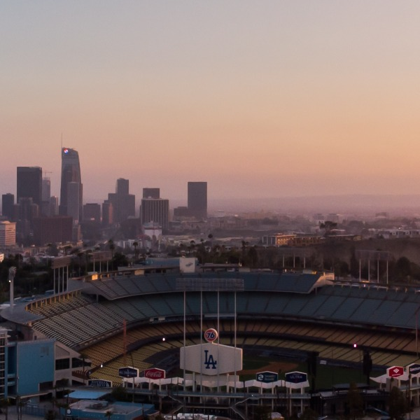 An aerial view shows the Dodger Stadium in Los Angeles, California on May 9, 2020. (APU GOMES/AFP via Getty Images)