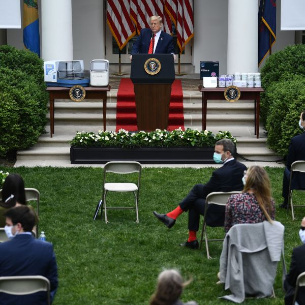 President Donald Trump takes questions during a news conference on the novel coronavirus in the White House Rose Garden on May 11, 2020. (Credit: Brendan Smialowski / AFP / Getty Images)