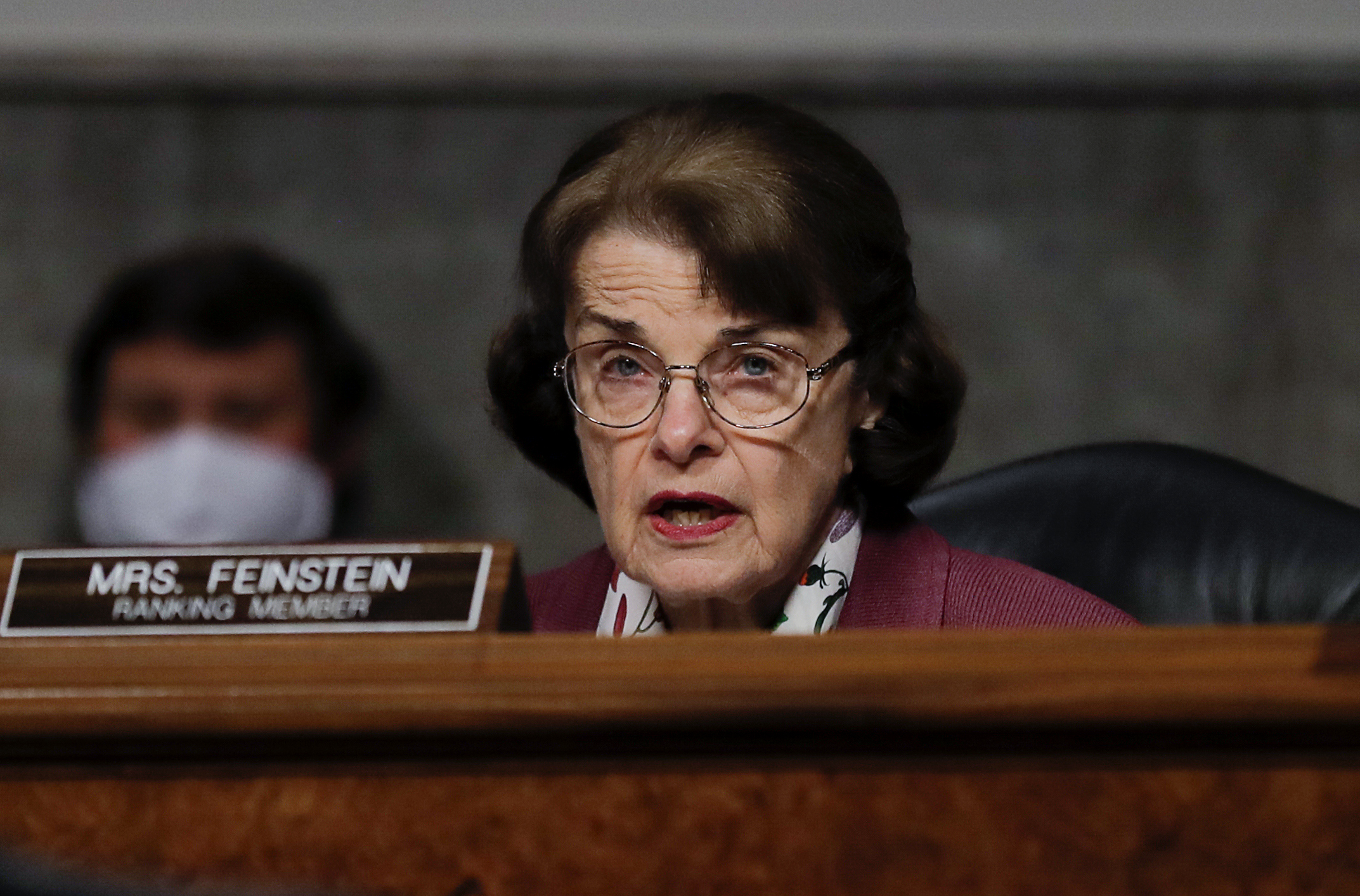 Sen. Dianne Feinstein participates in a Senate Judiciary Committee hearing examining liability during the coronavirus on May 12, 2020. (Carlos Barria / AFP / Getty Images)