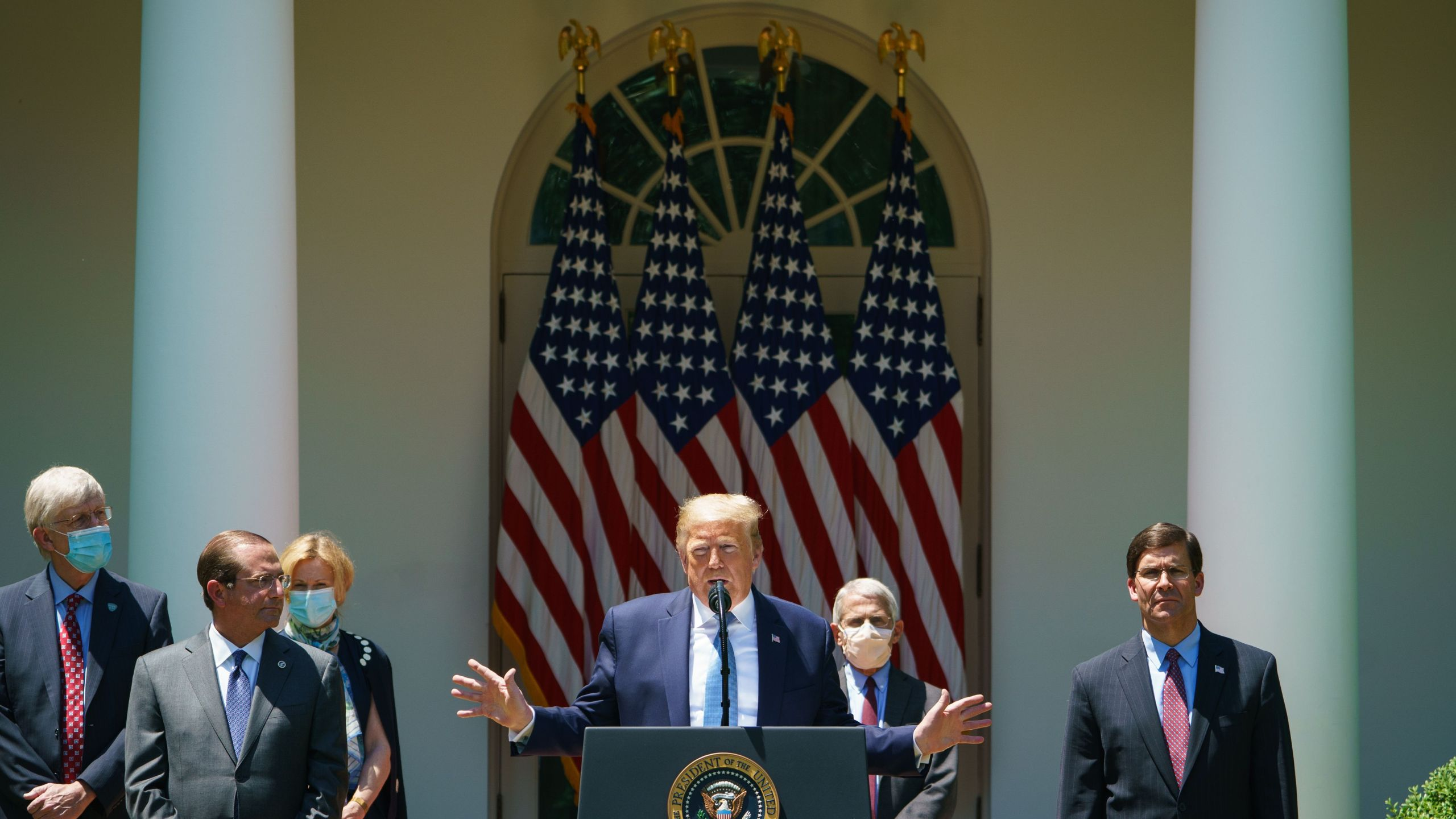 Donald Trump speaks about vaccine development in the Rose Garden of the White House in Washington, D.C. on May 15, 2020. (MANDEL NGAN/AFP via Getty Images)