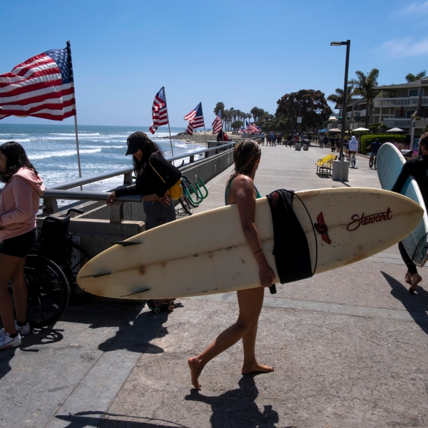 People enjoy the less restricted beachfront over Memorial Day weekend May 24, 2020 in Ventura. (Brent Stirton/Getty Images)