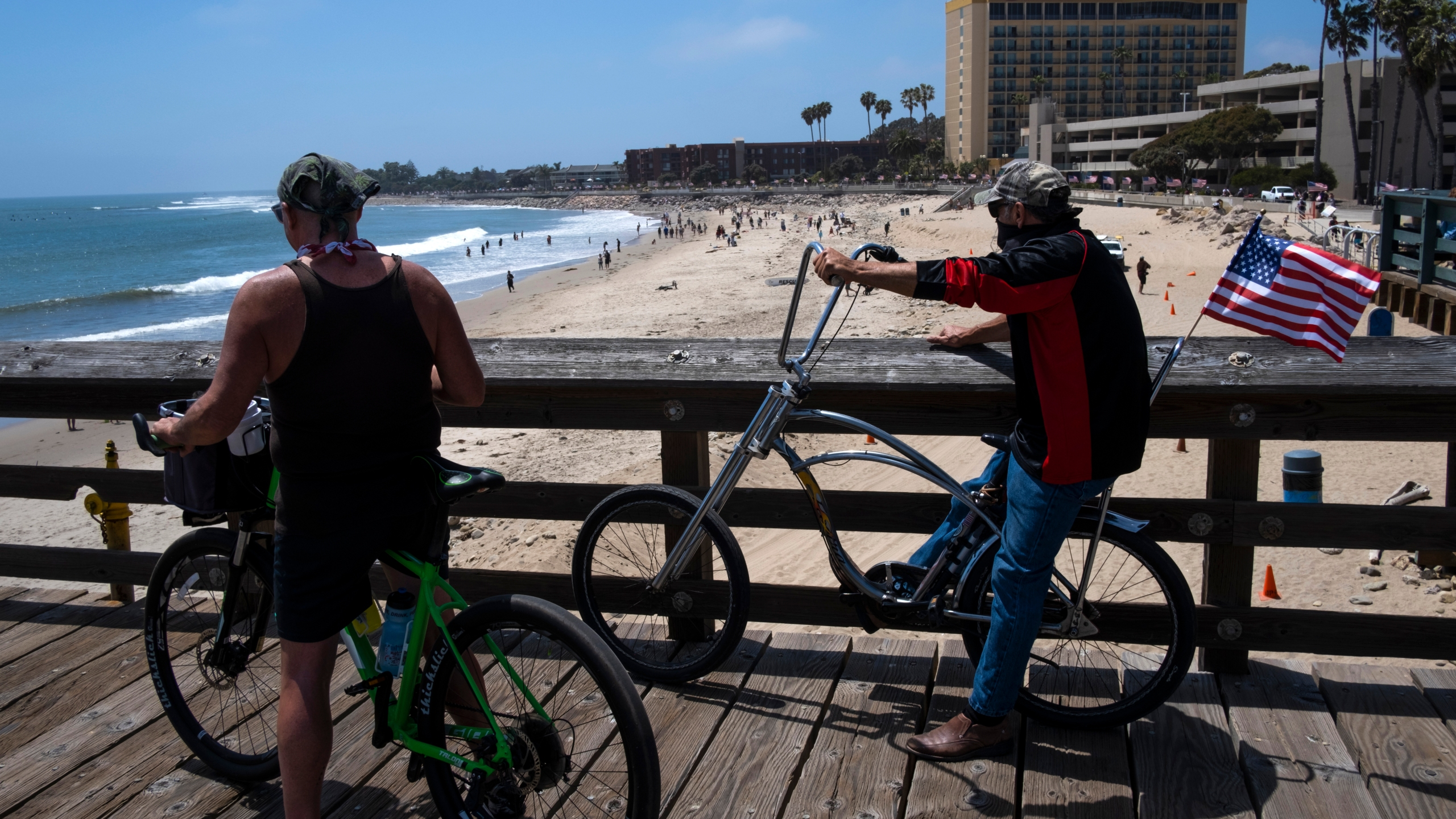 People enjoy the less restricted beachfront in Ventura on May 24, 2020. (Brent Stirton/Getty Images)