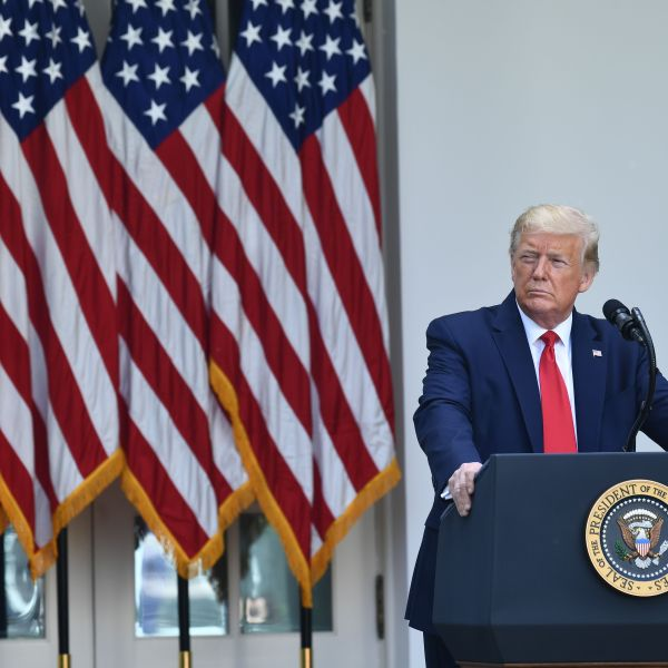 Donald Trump delivers remarks on protecting seniors with diabetes during an event in the Rose Garden of the White House on May 26, 2020. (BRENDAN SMIALOWSKI/AFP via Getty Images)