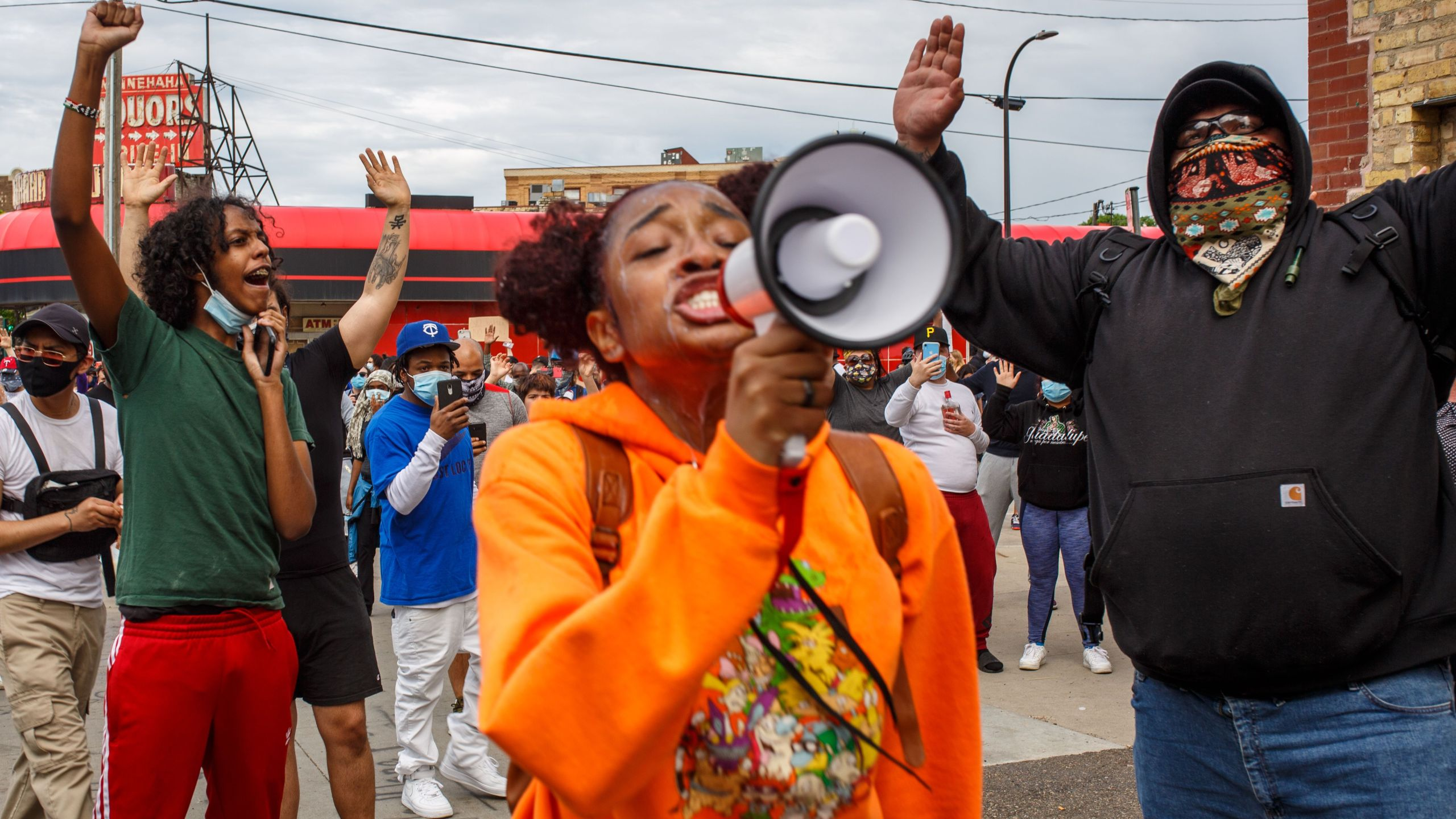 Protesters demonstrate against the death of George Floyd outside the Third Police Precinct in Minneapolis, Minnesota, on May 27, 2020. (Kerem Yucel / AFP / Getty Images)