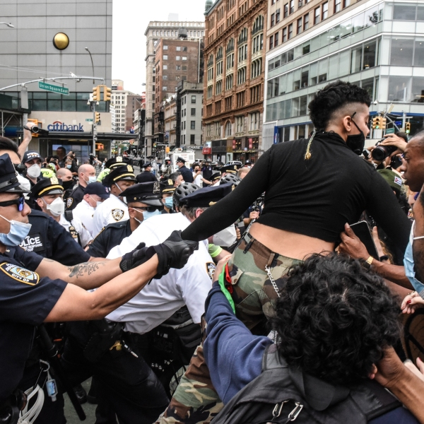 A protester is detained by New York City police during a rally against the death of George Floyd at the hands of police on May 28, 2020. (Stephanie Keith / Getty Images)