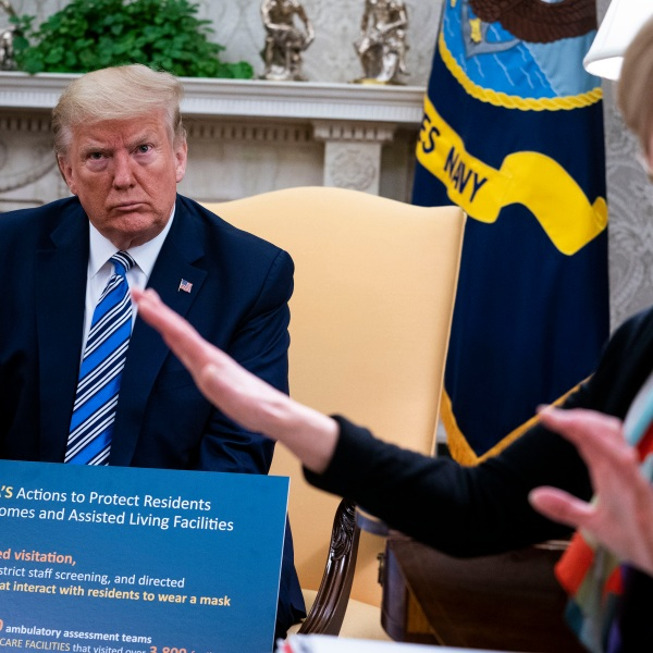 White House Coronavirus Task Force Coordinator Deborah Birx answers a question while meeting with Florida Gov. Ron DeSantis and President Donald Trump in the Oval Office of the White House on April 28, 2020 in Washington, D.C. (Doug Mills / The New York Times / Pool via Getty Images)