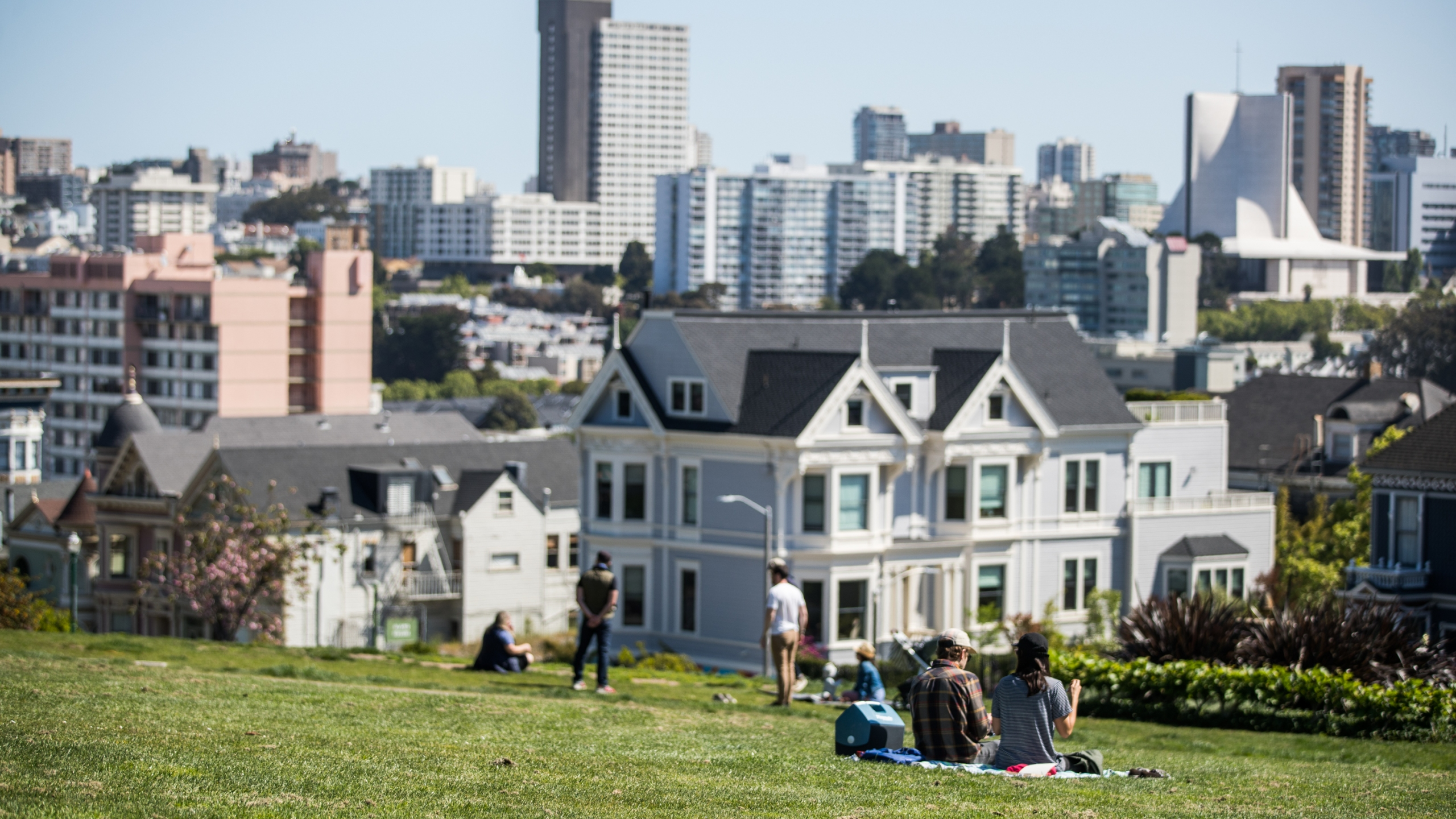 People sit on the grass at Alamo Square Park during the coronavirus pandemic on May 3, 2020 in San Francisco. (Rich Fury/Getty Images)