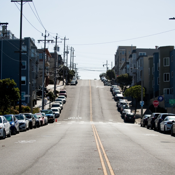 A street is empty of traffic during the coronavirus pandemic on May 3, 2020 in San Francisco. (Rich Fury/Getty Images)
