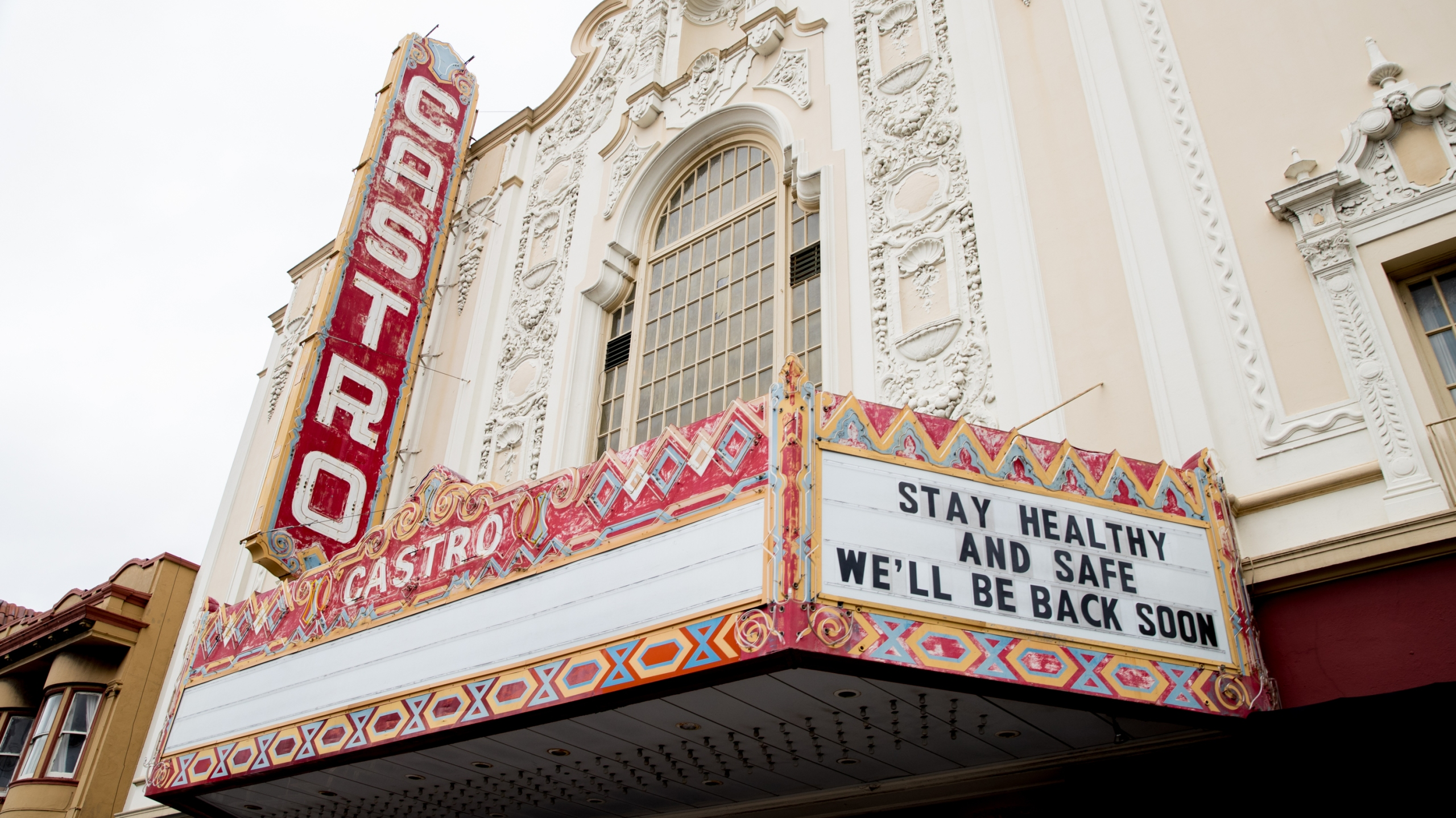 "The marquee of The Castro Theatre reads ""Stay Healthy And Safe We'll Be Back Soon"" during the coronavirus pandemic on May 2, 2020 in San Francisco.(Rich Fury/Getty Images)"