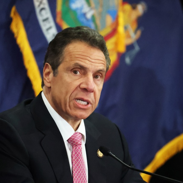 New York Gov. Andrew Cuomo speaks during a coronavirus briefing at Northwell Feinstein Institute For Medical Research on May 6, 2020 in Manhasset, New York. (Al Bello/Getty Images)