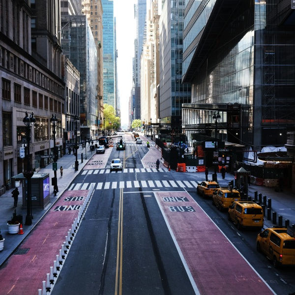 Usually one of the most congested streets in Manhattan, 42nd Street stands nearly empty on May 12, 2020, in New York City. Across America, people are reeling from the loss of jobs and incomes as unemployment soars to historical levels amid the COVID-19 outbreak. (Spencer Platt/Getty Images)