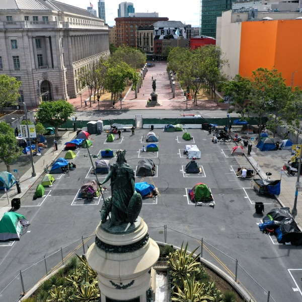 An aerial view of San Francisco's first temporary sanctioned tent encampment for the homeless on May 18, 2020 in San Francisco, California. (Photo by Justin Sullivan/Getty Images)