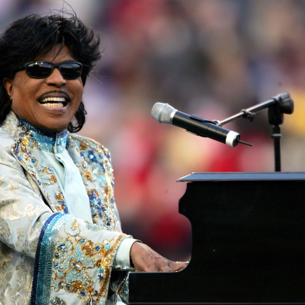 Musician Little Richard performs during the halftime show of the game between the Louisville Cardinals and the Boise State Broncos in the AutoZone Liberty Bowl on Dec. 31, 2004 at the Liberty Bowl in Memphis, Tennessee. (Andy Lyons/Getty Images)