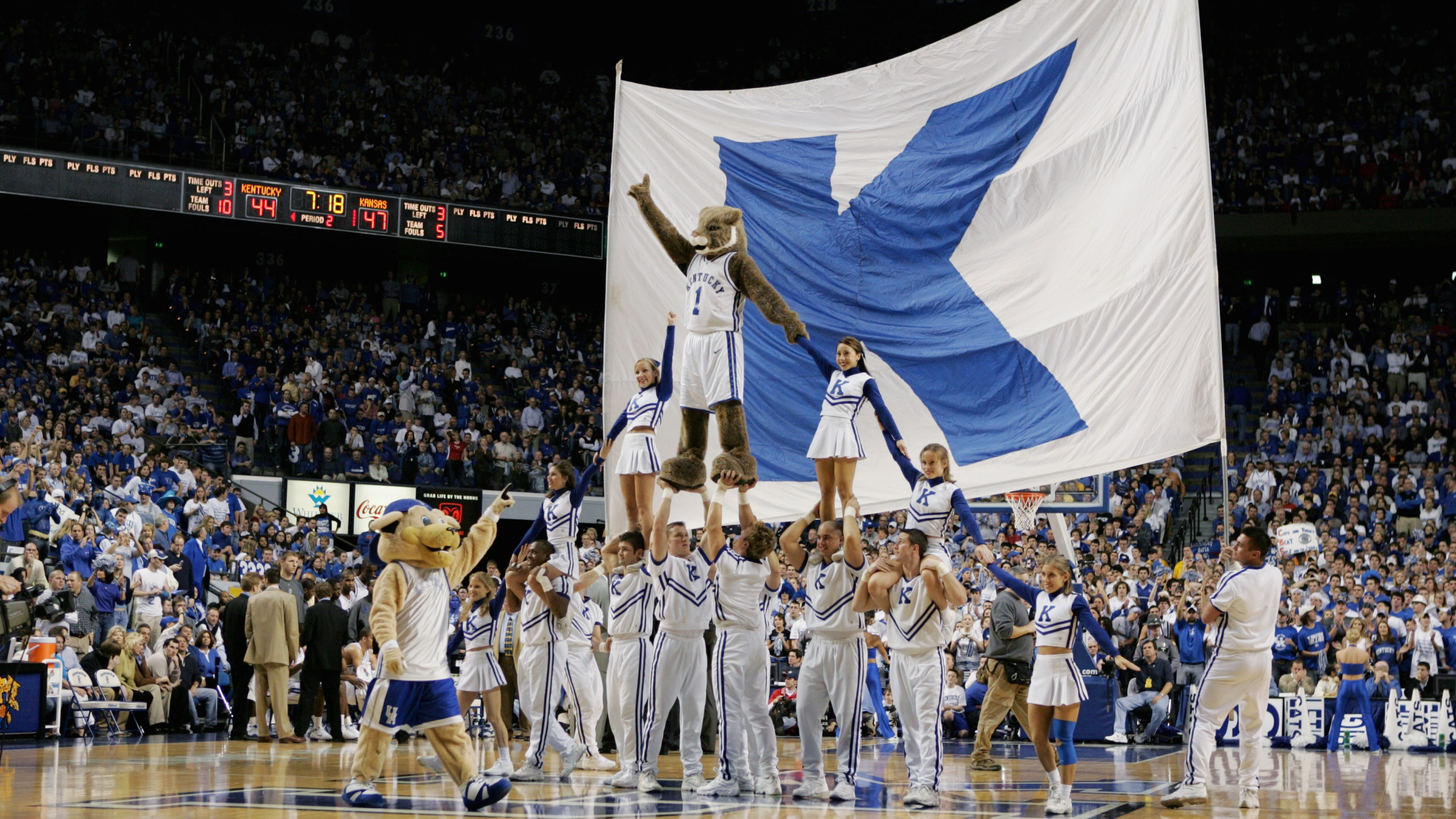 The mascots and cheerleaders of the Kentucky Wildcats build a pyramid during the game against the Kansas Jayhawks on January 9, 2005 at Rupp Arena in Lexington, Kentucky. (Andy Lyons/Getty Images)