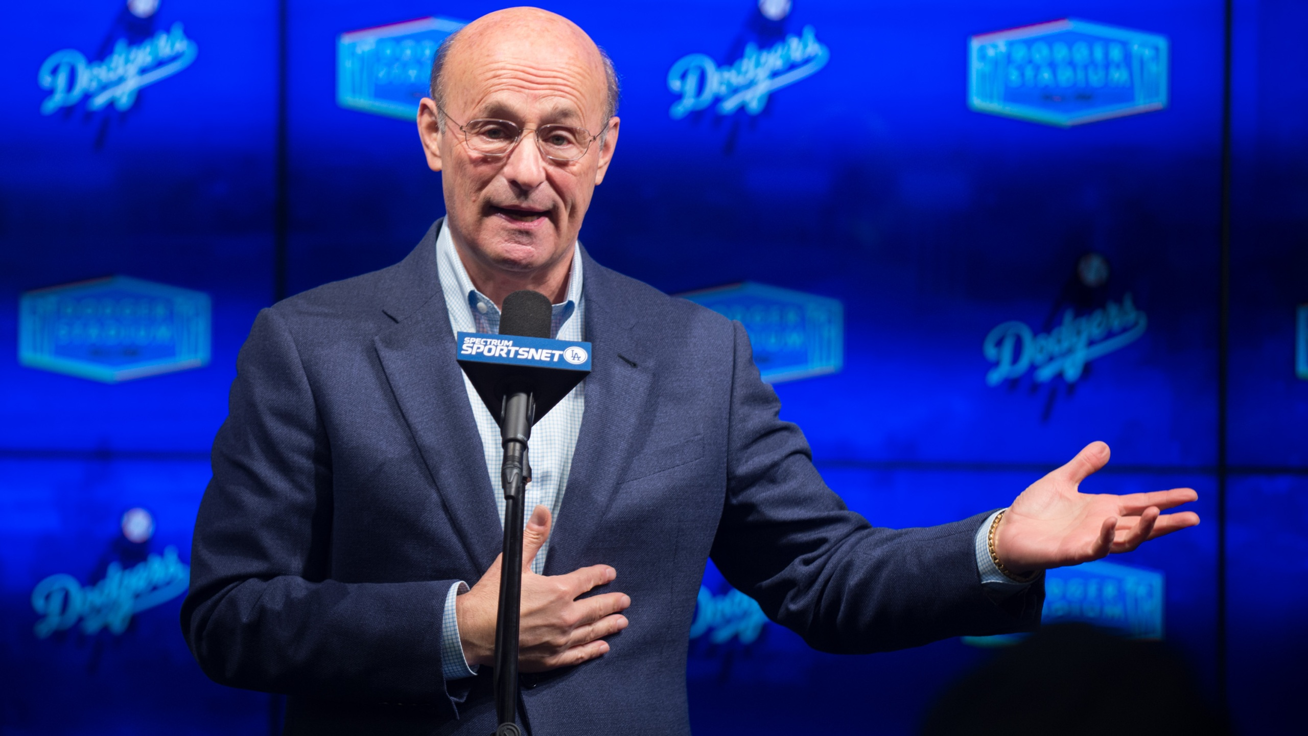 President of the Los Angeles Dodgers Stan Kasten speaks at Dodger Stadium on Jan. 5, 2017. (Emma McIntyre/Getty Images)