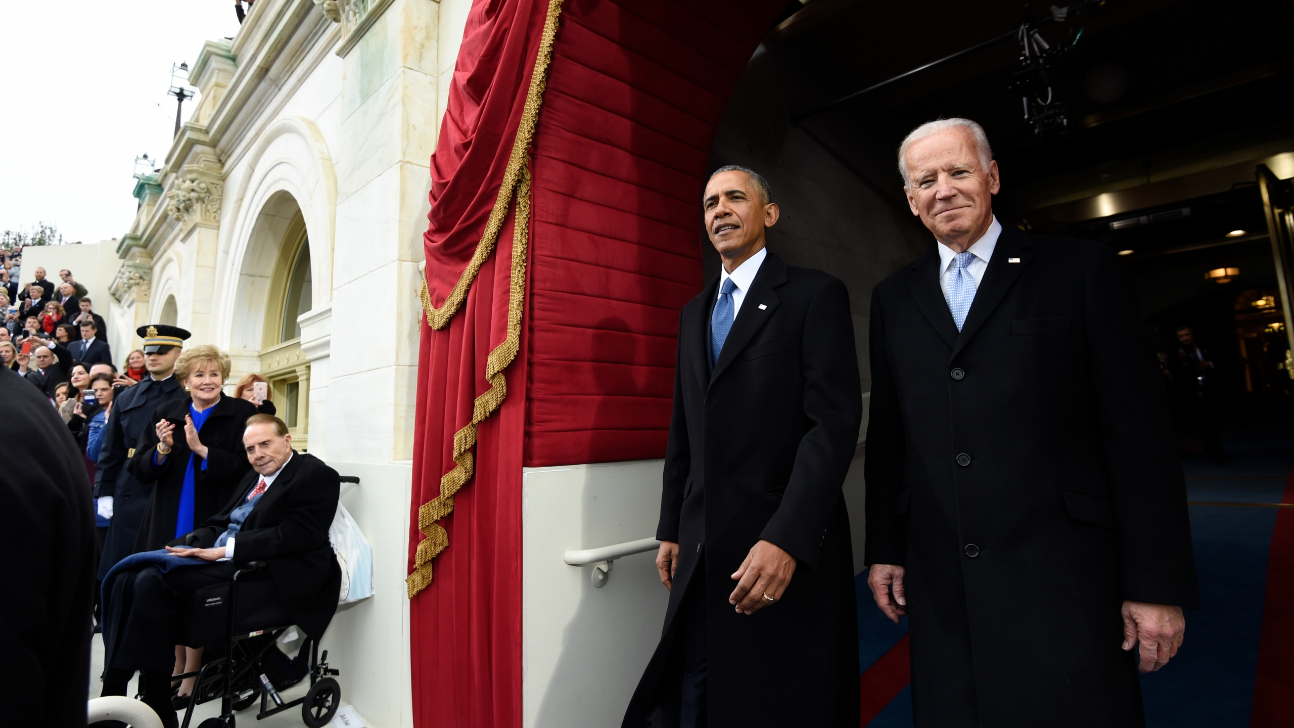 President Barack Obama and Vice President Joe Biden arrive for the Presidential Inauguration of Donald Trump at the US Capitol on January 20, 2017, in Washington, D.C. (Saul Loeb - Pool/Getty Images)