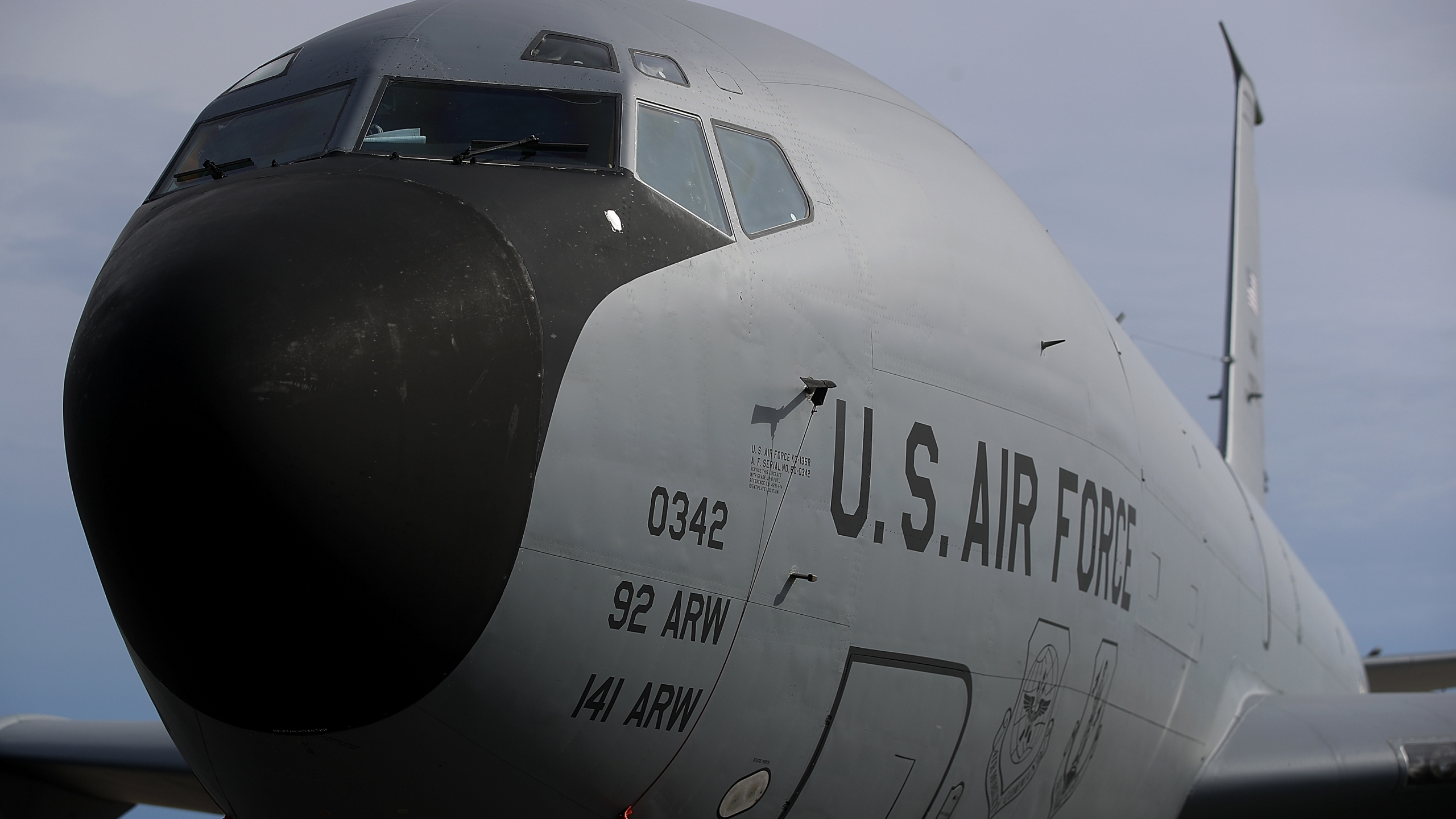 A U.S. Air Force Boeing KC-135 Stratotanker sits on the tarmac at Andersen Air Force base on August 17, 2017 in Yigo, Guam. (Justin Sullivan/Getty Images)