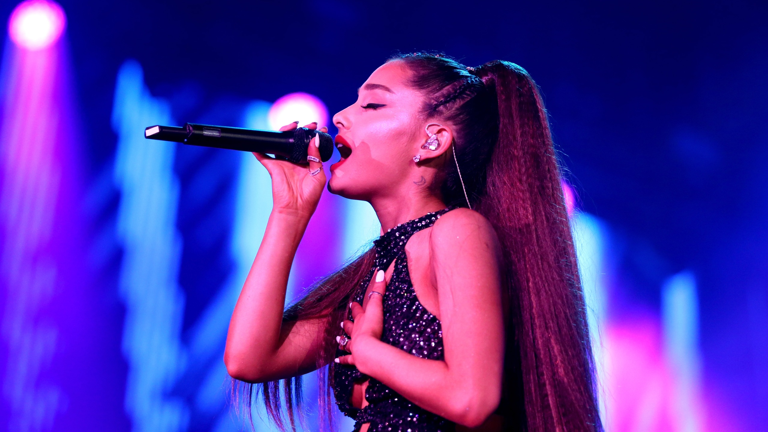 Ariana Grande performs onstage during the 2018 iHeartRadio Wango Tango by AT&T at Banc of California Stadium on June 2, 2018 in Los Angeles. (Rich Polk/Getty Images for iHeartMedia )