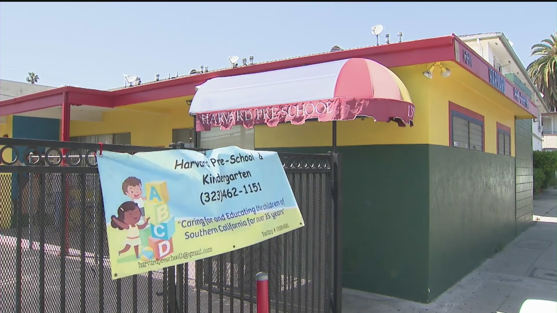 Harvard preschool in Hollywood, pictured on May 24, 2020. (KTLA)
