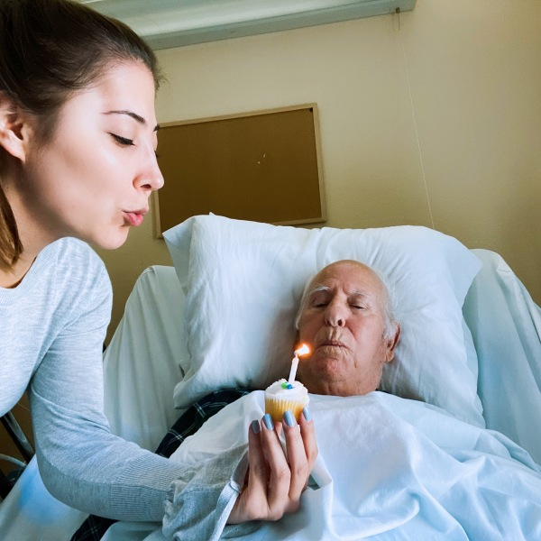 Vana Ebrahimi and her grandpa celebrated their birthdays together in a La Crescenta nursing home in Feb. 2020.