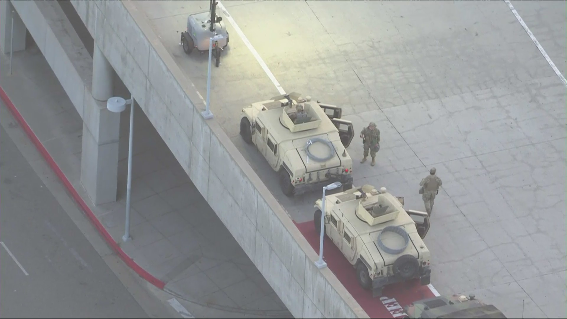 National Guard troops are seen at the Los Angeles Convention Center May 31, 2020, a day after Mayor Eric Garcetti asked them to be sent to the city. (KTLA)