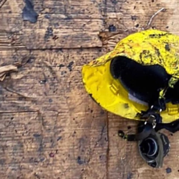 The Lancaster Sheriff's Station released an image of a melted firefighter helmet on May 18, 2020.