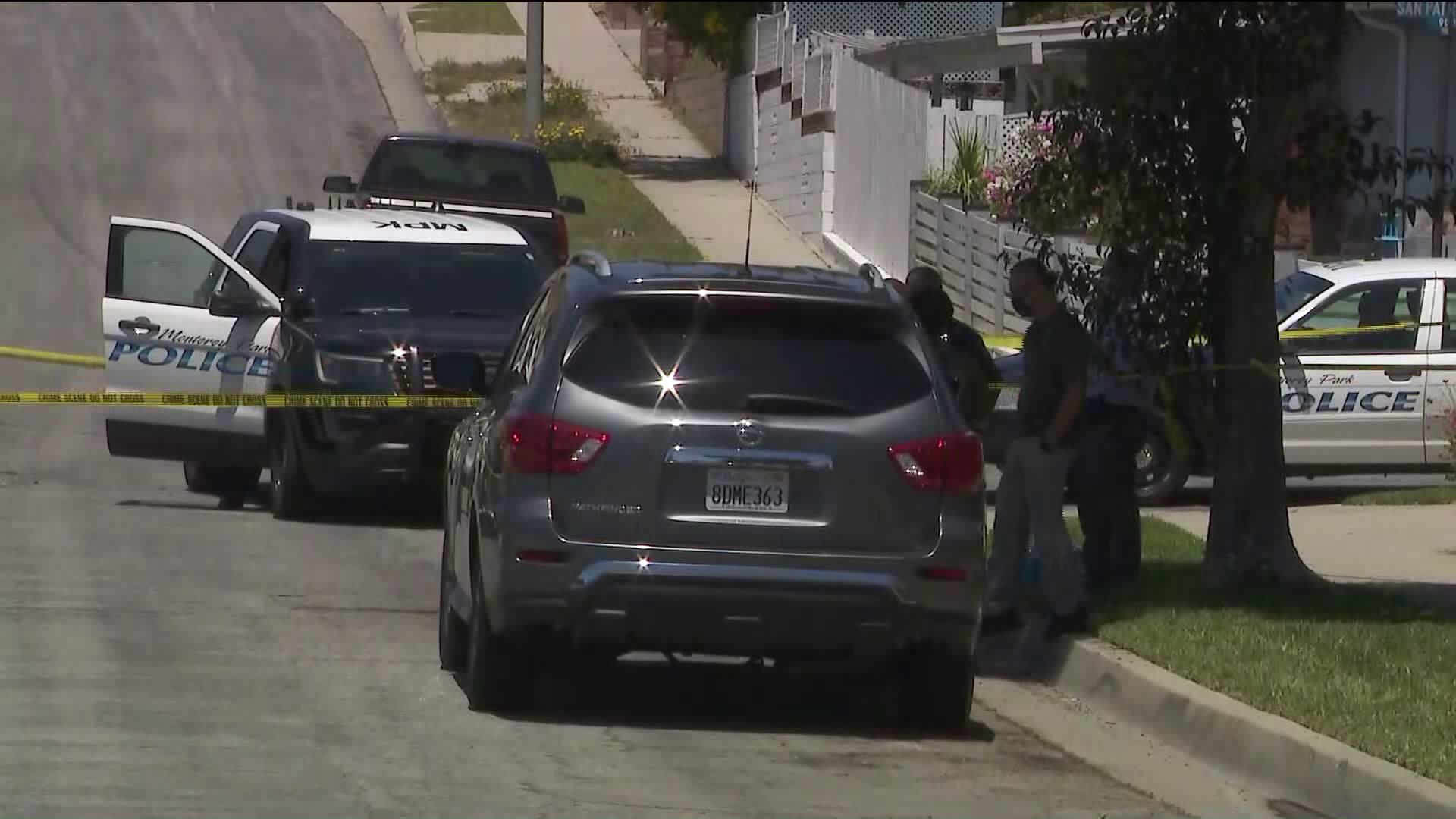 Detectives investigate the scene of a deadly stabbing in the 1700 block of Alisar Avenue in Monterey Park on May 6, 2020. (KTLA)