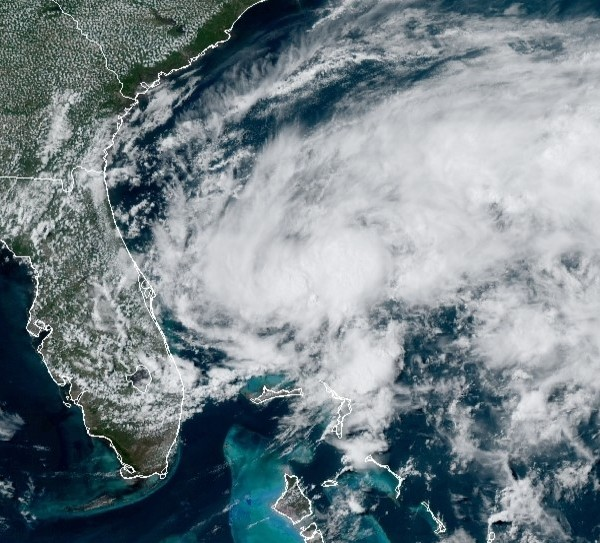 A tropical depression off the coast of the Eastern U.S. appears in this image released by the National Hurricane Center on May 16, 2020.