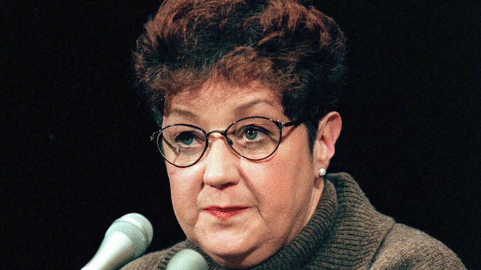 This file photo from Jan. 21, 1998 shows Norma McCorvey, the woman at the center of the U.S. Supreme Court ruling on abortion, as she testifies before a Senate Judiciary Committee subcommittee during hearings on the 25th anniversary of Roe v. Wade on Capitol Hill in Washington, DC. (CHRIS KLEPONIS/AFP via Getty Images)