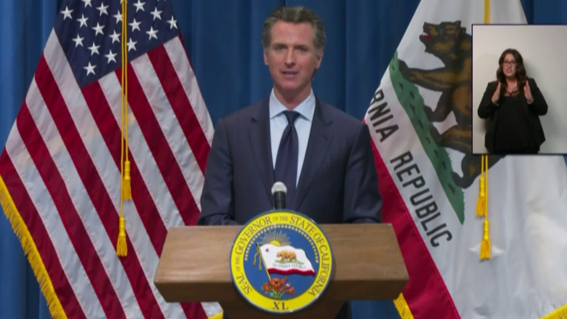 Gov. Newsom unveils his revised budget plan on May 14, 2020. (Pool)