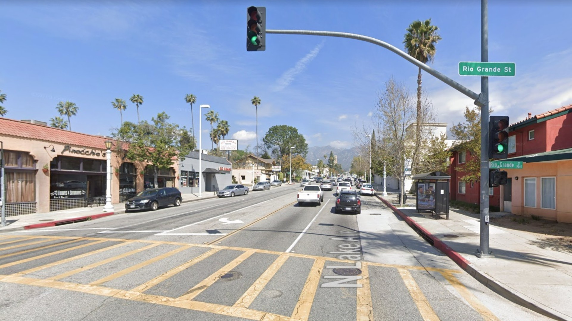 Lake Avenue, facing north at Rio Grande Street, in Pasadena, as pictured in a Google Street View image.