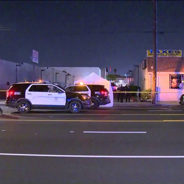 Police investigate the scene of a deadly hit-and-run in Pacoima on May 22, 2020. (KTLA)