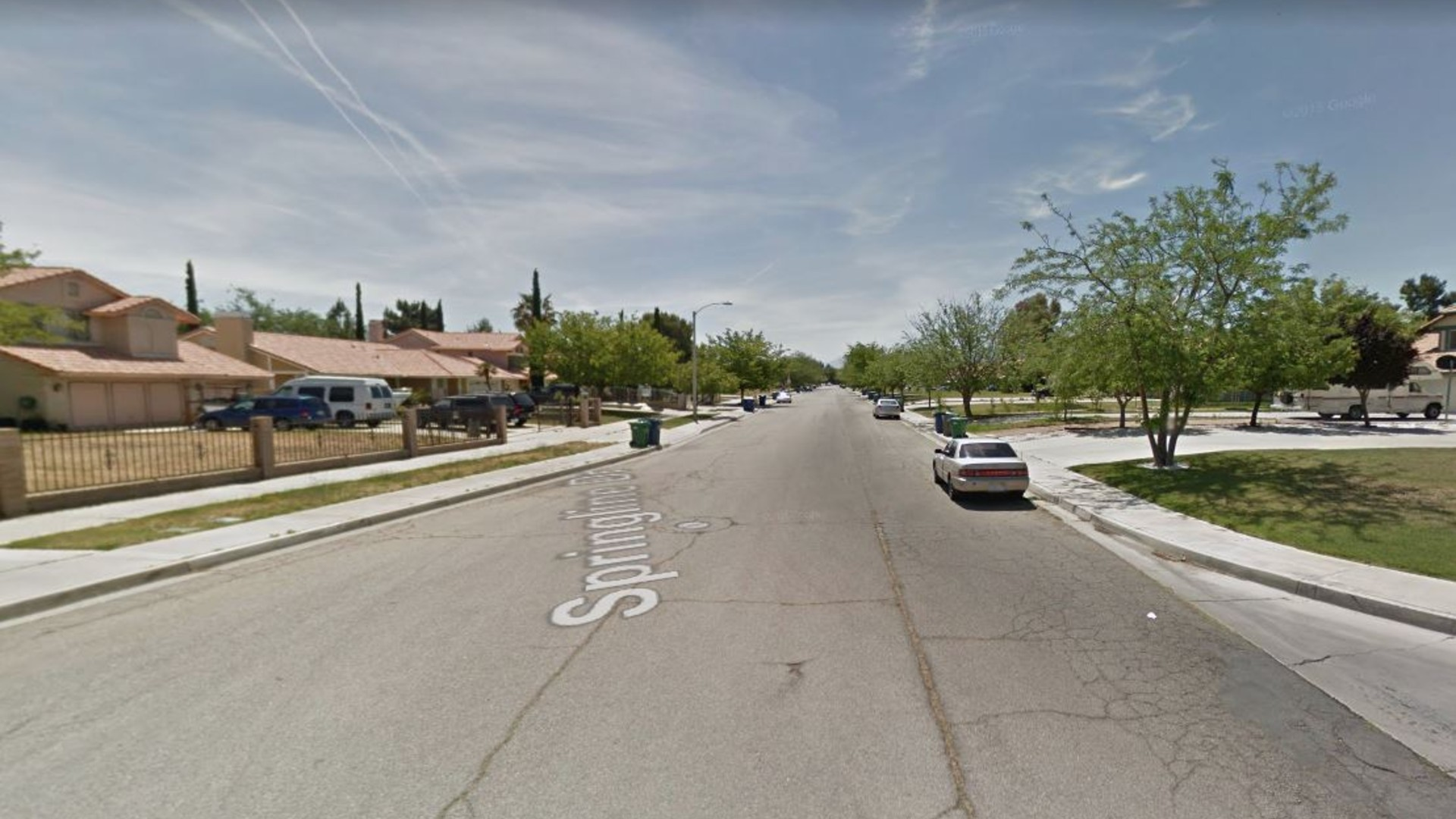 A Google Maps image shows the 1200 block of Springline Drive in Palmdale.