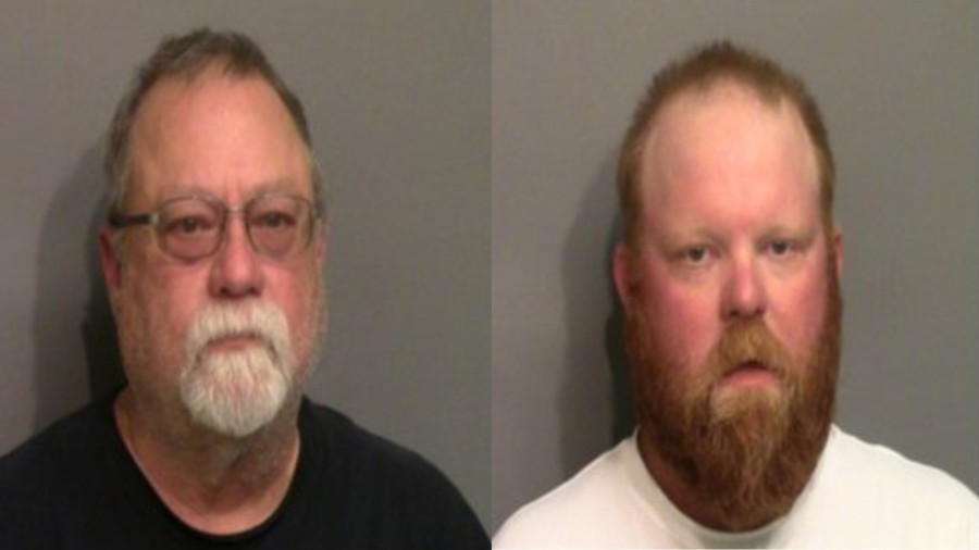 Gregory McMichael, left, and Travis McMichael are seen in booking photos released May 7, 2020, by the Glynn County Sheriff's Office. (Glynn Co. Sheriff's Office/WJXT via CNN)